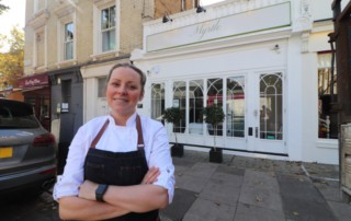 Anna Haugh in front of Myrtle Restaurant in Chelsea